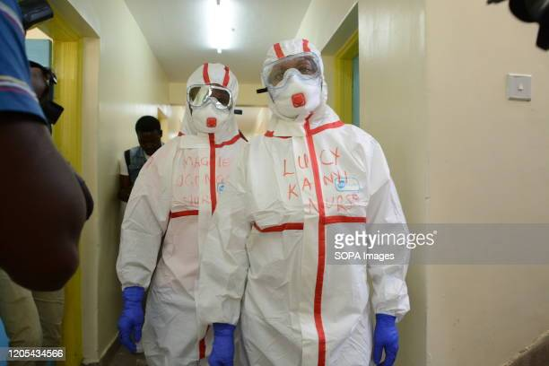Health workers dressed in protective suits at the Coronavirus isolation ward in Mbagathi hospital amid Coronavirus fears in Nairobi