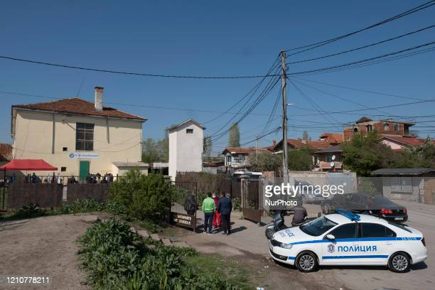 Health workers set up free antibody and COVID19 testing at the entrance to the primary school in the Roma neighborhood of Fakulteta in Sofia Bulgaria...