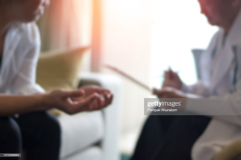 Healthcare concept of professional psychologist doctor consult in psychotherapy session or counsel diagnosis health. : Stock Photo