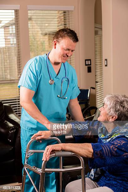Healthcare: Concierge doctor. Senior woman at house or nursing home.