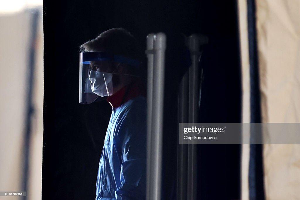 Coronavirus Testing Site Set Up At FedEx Field In Landover, Maryland : News Photo