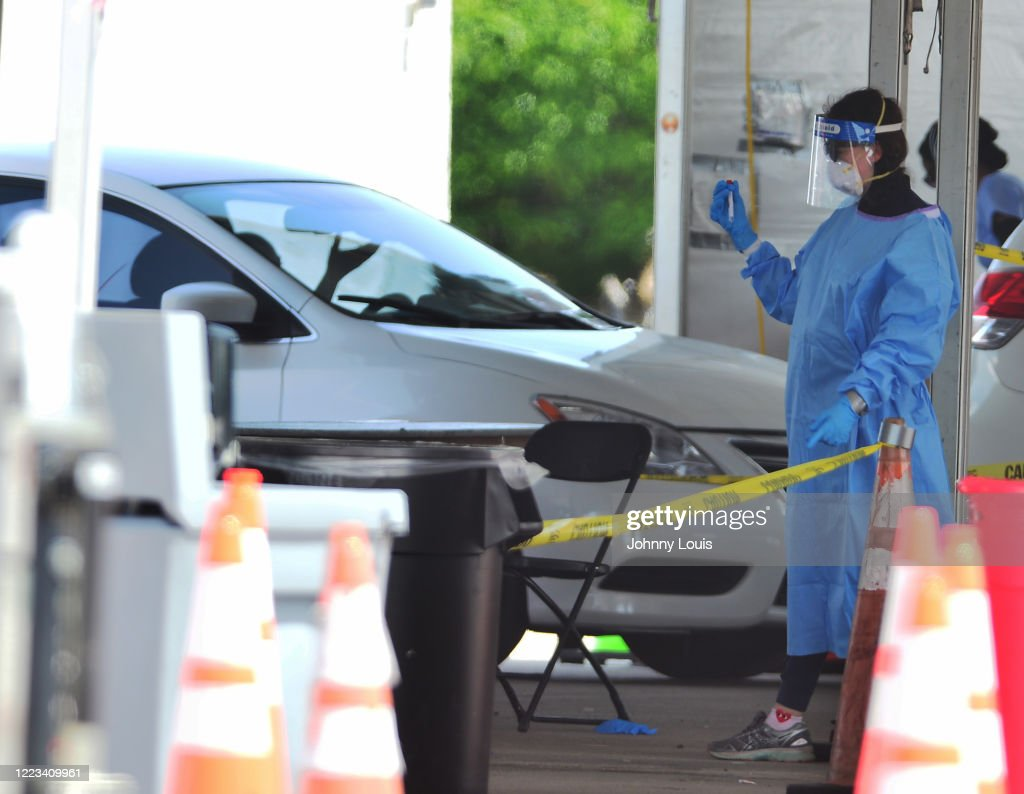 As Coronavirus Cases Continue To Spike In Florida, Miami's Hardrock Stadium Serves As Drive In Testing Site : News Photo