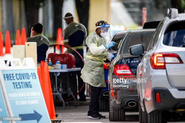 Healthcare worker administers a Covid-19 swab test at a testing site at Tropical Park in Miami, Florida, U.S., on Friday, Aug. 6, 2021. Florida...