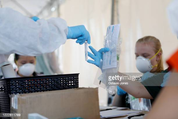 A healthcare worker hands off a coronavirus testing sample for processing at the Lee Davis Community Resource Center on June 25 2020 in Tampa Florida...