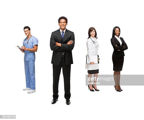 Healthcare workers and business people
