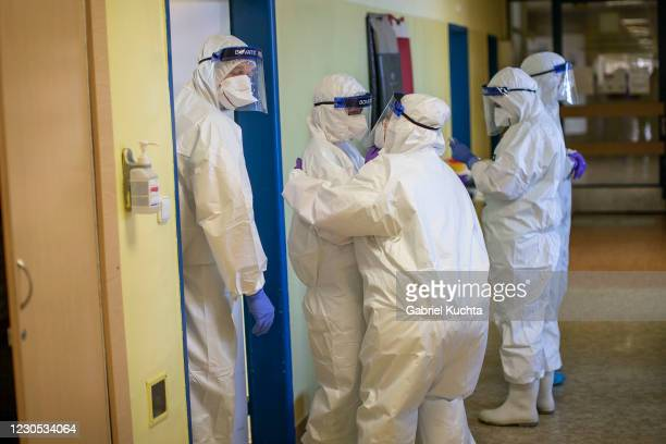 Healthcare workers gather during their shift in the Covid-19 ward at Hospital Karvina-Raj on January 11, 2020 in Karvina, Czech Republic. The...