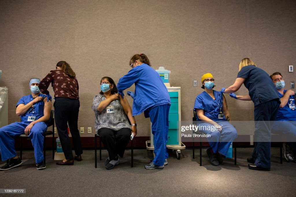 Legacy Emmanuel Medical Center In Portland Administers Area's First COVID-19 Vaccines : News Photo