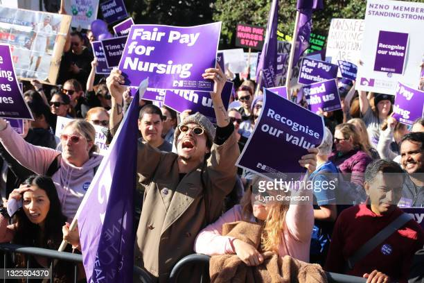 June 9: Healthcare workers shout protest slogans as they rally at Parliament in Wellington, New Zealand on June 09, 2021. About 30,000 members of the...