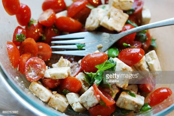 Healthy and light summer dish: tomato salad