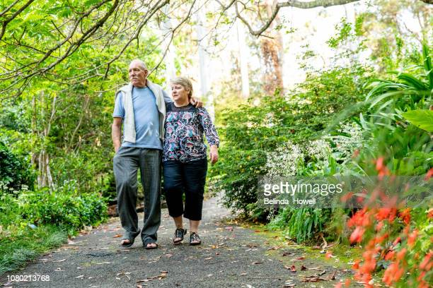 healthy and physically active senior australian couple picnic in a rainforest - botanical garden stock pictures, royalty-free photos & images