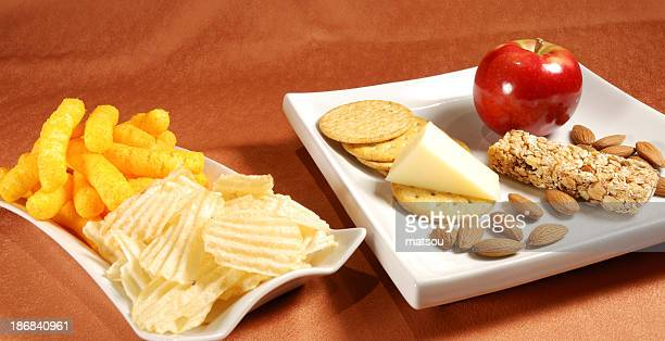 Healthy and unhealthy snack.