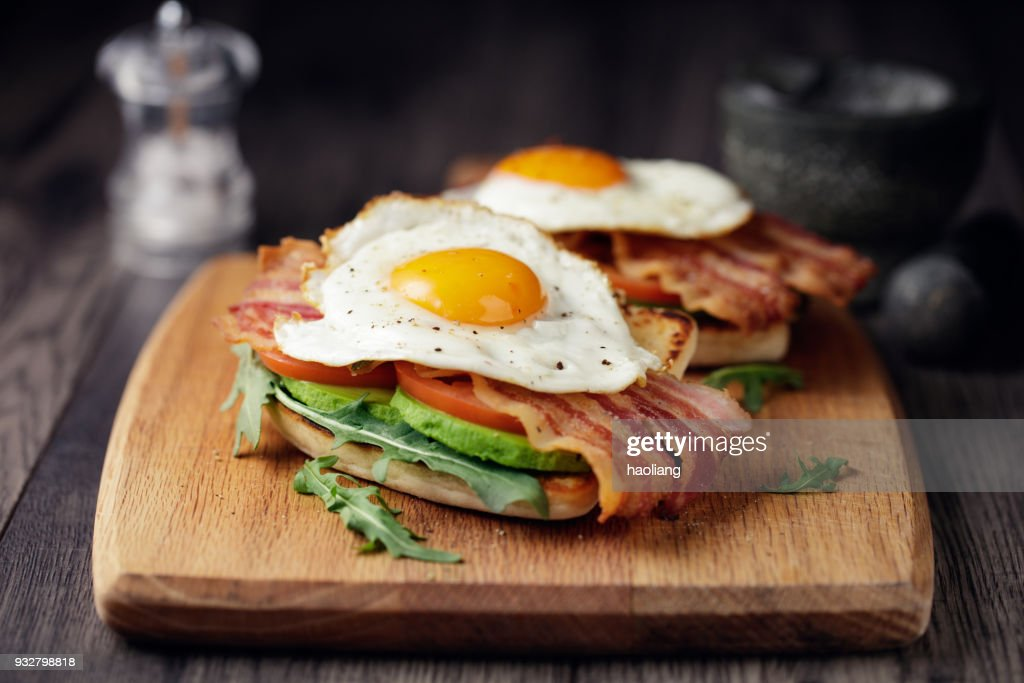 Healthy bacon fried egg brunch : Stock Photo