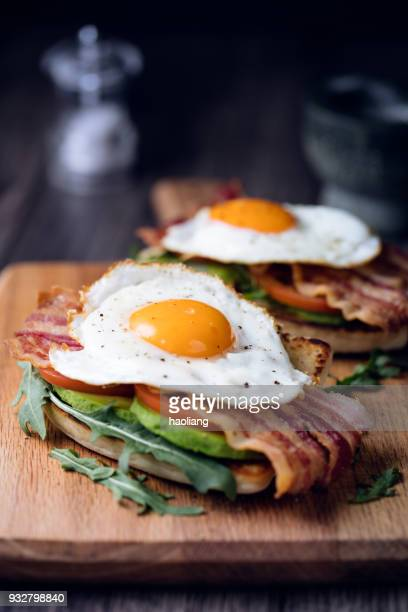 Healthy bacon fried egg brunch