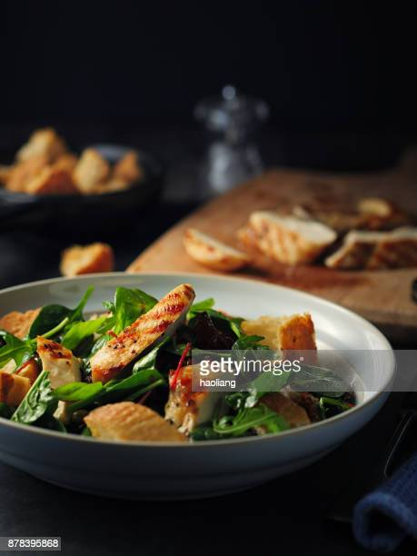 Healthy bistro salad with grilled chicken breast