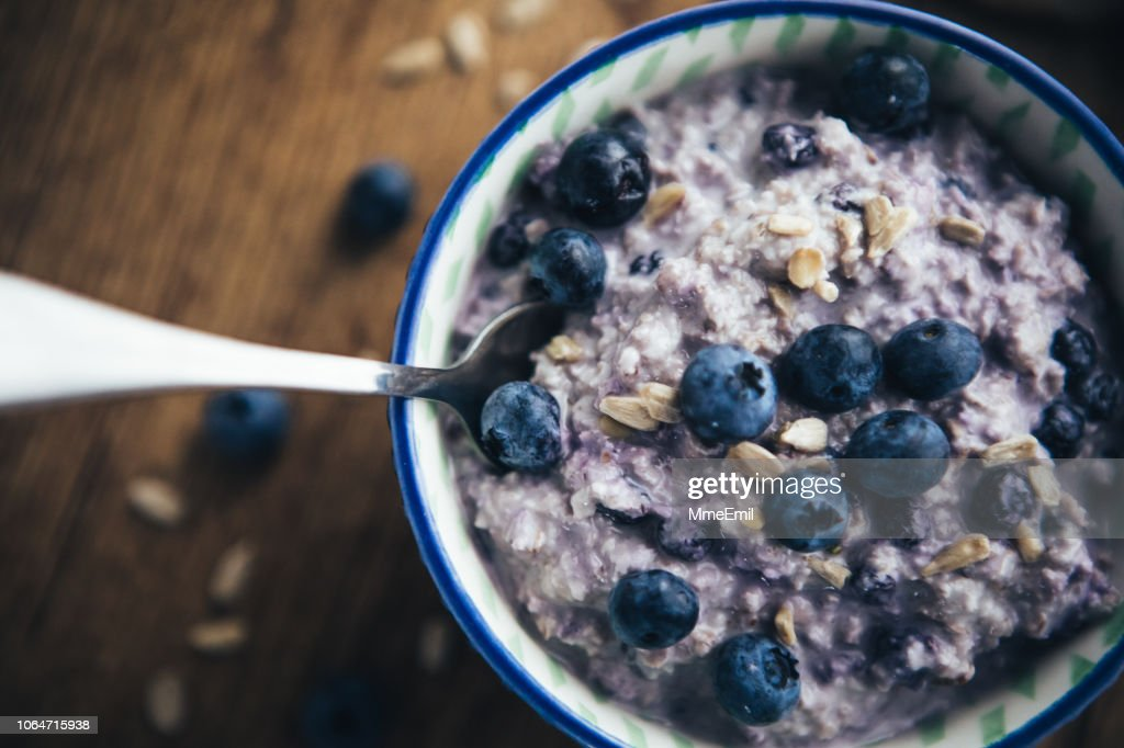 Healthy Breakfast, Blueberry Overnight Oatmeal : Stock Photo