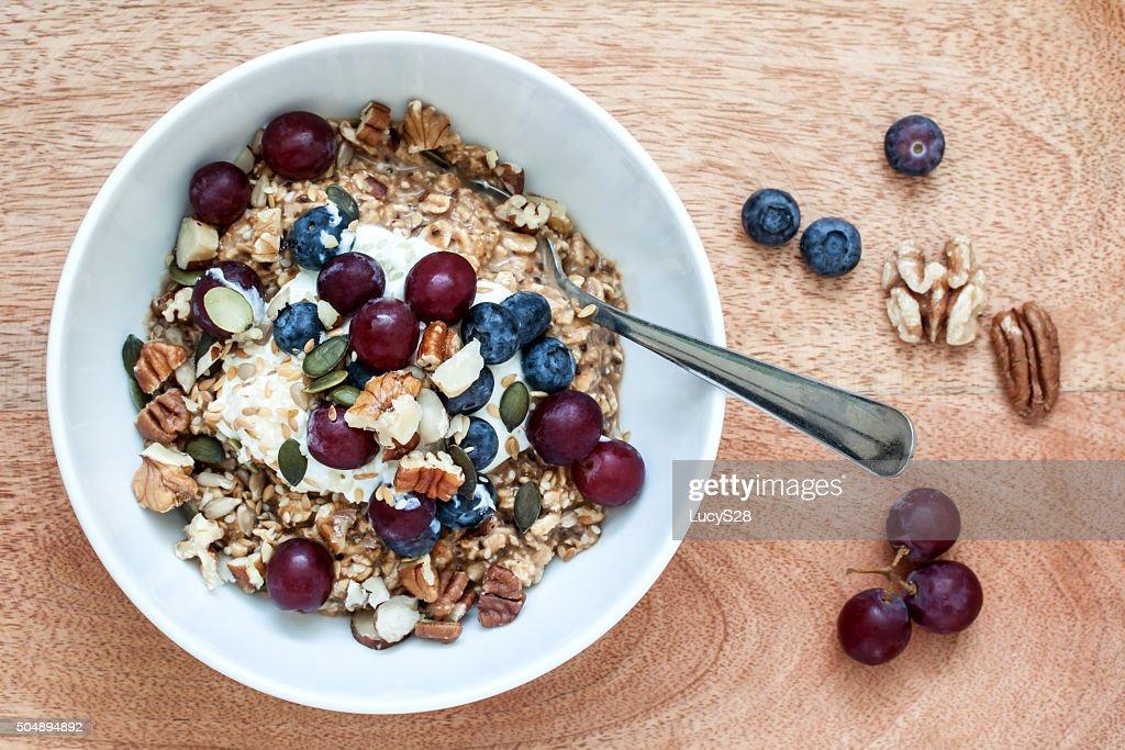 Healthy Breakfast of Bircher Muesli : Stock Photo