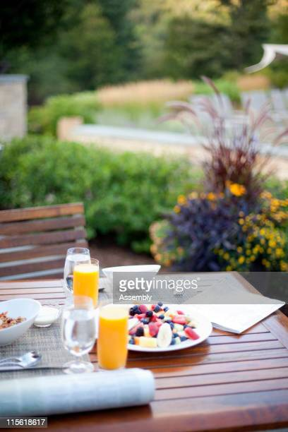 Healthy breakfast on outdoor patio table