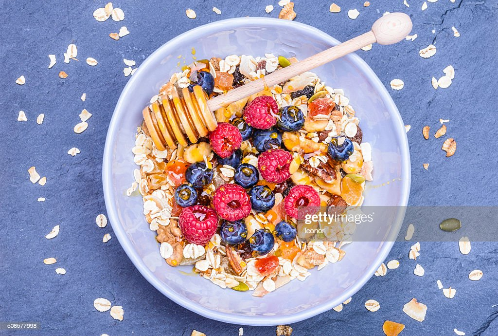 Healthy breakfast top view. : Stock Photo