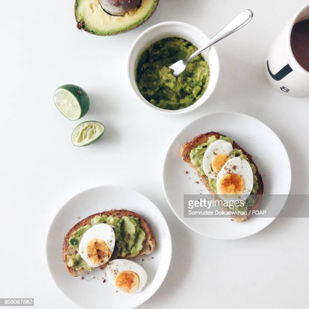 Healthy breakfast with avocado toast