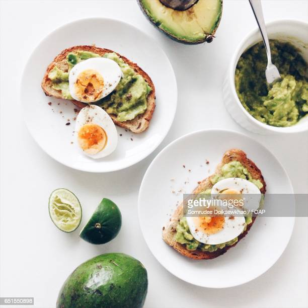 Healthy breakfast with avocado toast with boiled eggs.