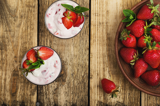 Healthy breakfast with yoghurt and fresh strawberries - gettyimageskorea