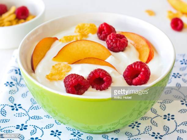Healthy breakfast, yogurt and fruits