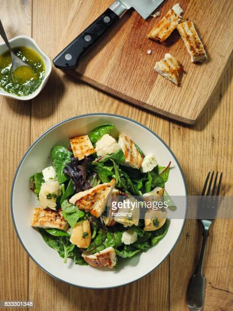 healthy chicken salad - crouton stock photos and pictures