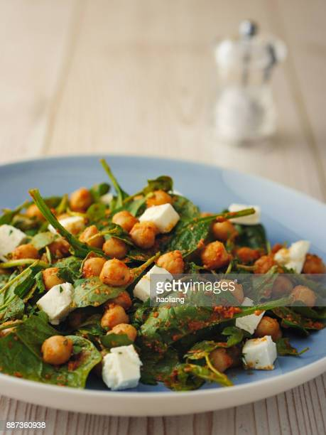 Healthy Chickpea salad with feta cheese