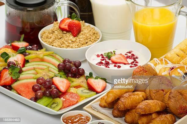 A healthy continental breakfast buffet