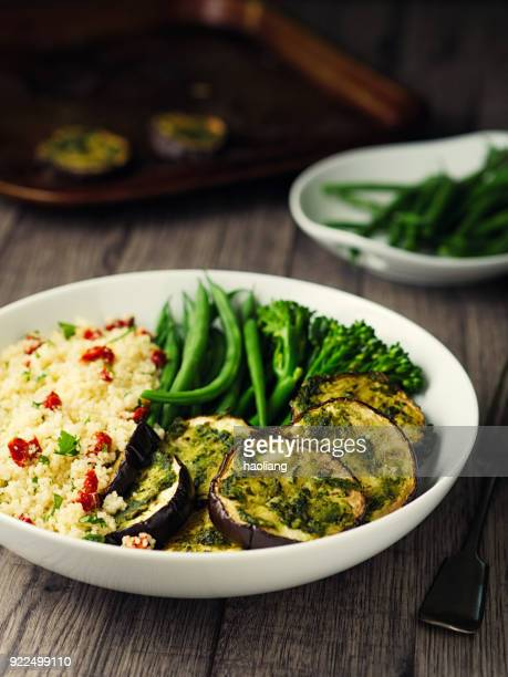 Healthy couscous and roasted aubergine bowl
