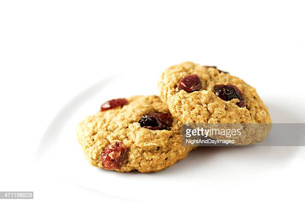 Healthy Cranberry Oatmeal Cookies on White Background