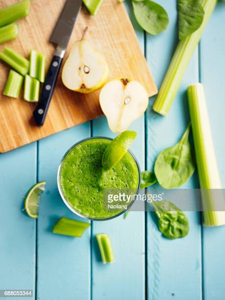 Healthy cucumber,celery spinach and pear smoothies