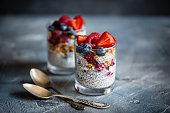 Healthy dessert with chia seeds, blueberries, strawberries, raspberries and granola. Horizontal.