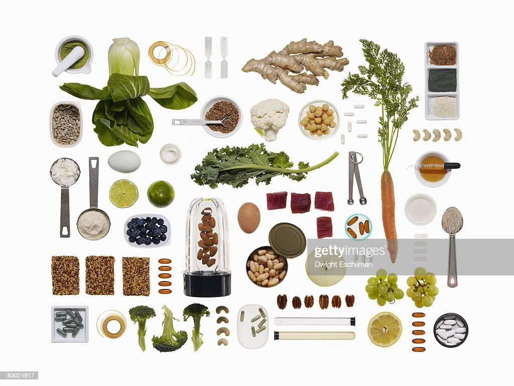 A healthy diet food grid : Stock Photo