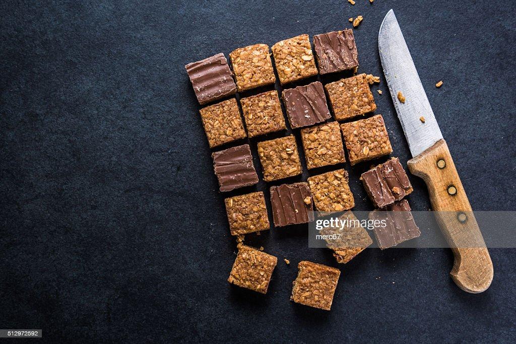 Healthy diet snack, oat flap jack brownie bar : Stock Photo