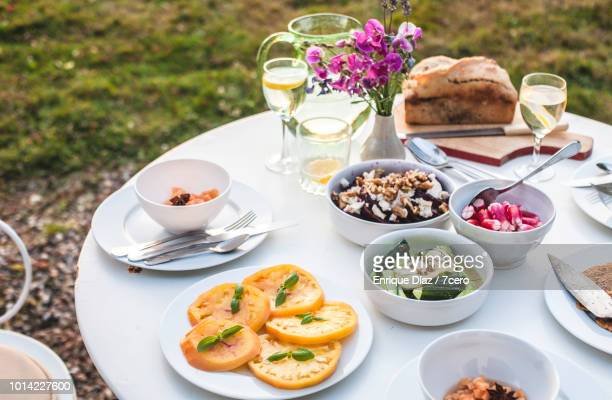 A Healthy dinner is served at sunset in Loire Valley