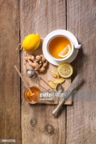 Healthy drink honey lemon ginger tea.