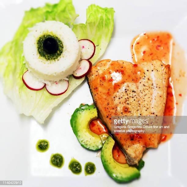 healthy eating - baked salmon - gregoria gregoriou crowe fine art and creative photography. stock photos and pictures