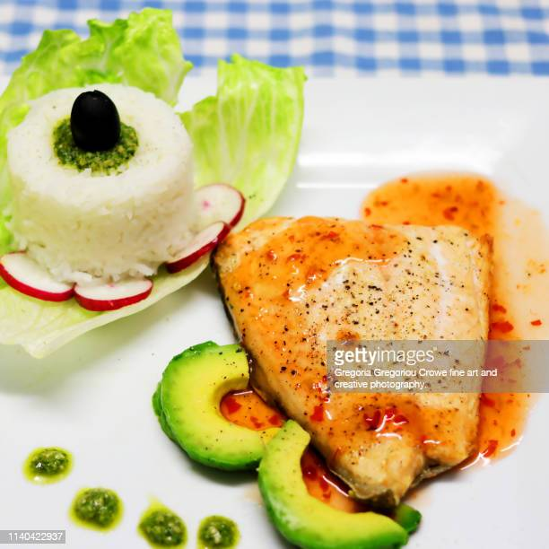 healthy eating - baked salmon - gregoria gregoriou crowe fine art and creative photography. stock pictures, royalty-free photos & images