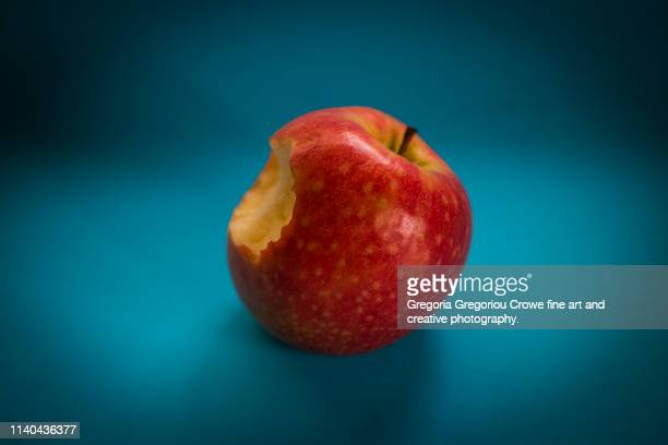 healthy eating - bitten red apple - gregoria gregoriou crowe fine art and creative photography. stock pictures, royalty-free photos & images