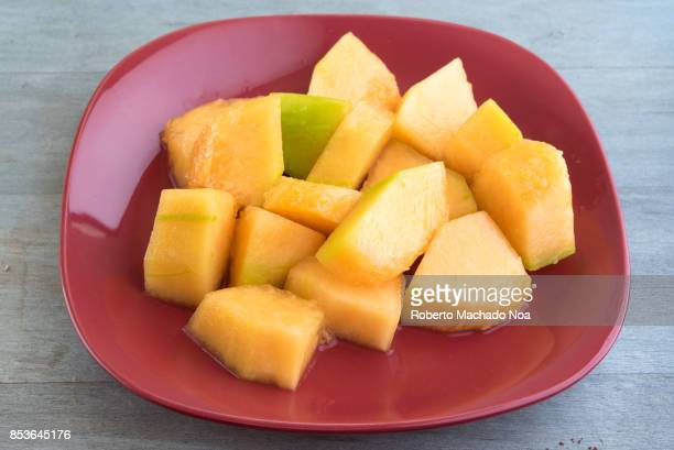 Healthy eating Closeup of cantaloupe fruit salad The fruit is also known as mushmelon rockmelon sweet melon or spanspek refers to a variety of the...