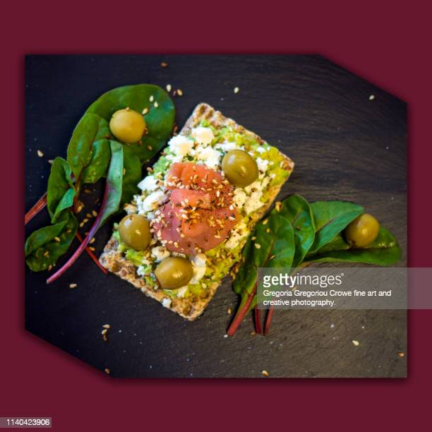 healthy eating - crispy rye bread and avocado - gregoria gregoriou crowe fine art and creative photography. stock pictures, royalty-free photos & images