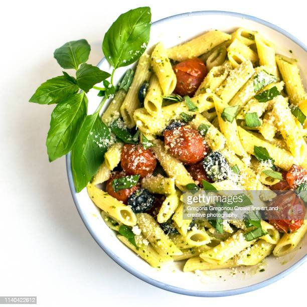healthy eating - pasta penne with green pesto - gregoria gregoriou crowe fine art and creative photography. stock pictures, royalty-free photos & images