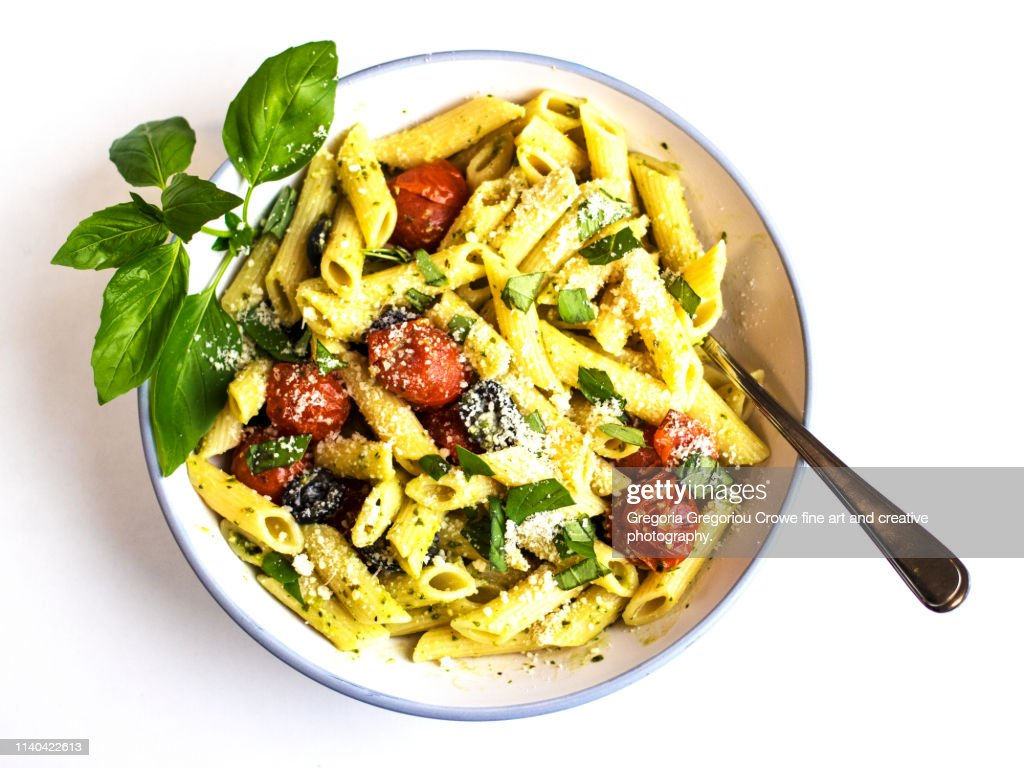 Healthy Eating - Pasta Penne with Green Pesto : Stock Photo
