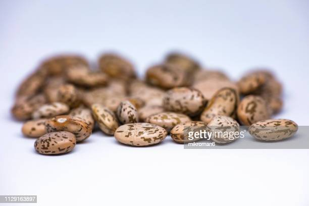healthy eating, pinto beans, close-up. raw food ingredient - pinto bean stock pictures, royalty-free photos & images
