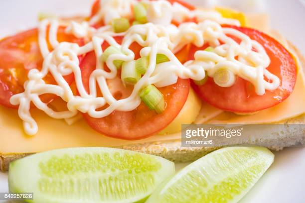 healthy eating - sandwich with cheese, egg, fresh vegetables, tomato. - mayonnaise stock photos and pictures