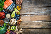 Healthy eating: selection of antioxidant group of food frame. Copy space