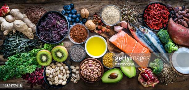 healthy eating: selection of antioxidant group of food - comida e bebida imagens e fotografias de stock
