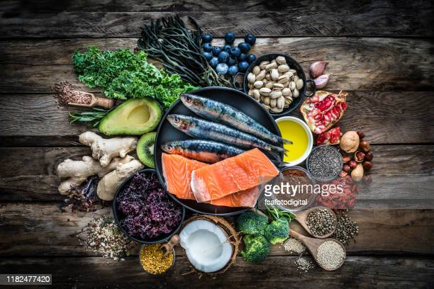 healthy eating: selection of antioxidant group of food - nut food stock pictures, royalty-free photos & images