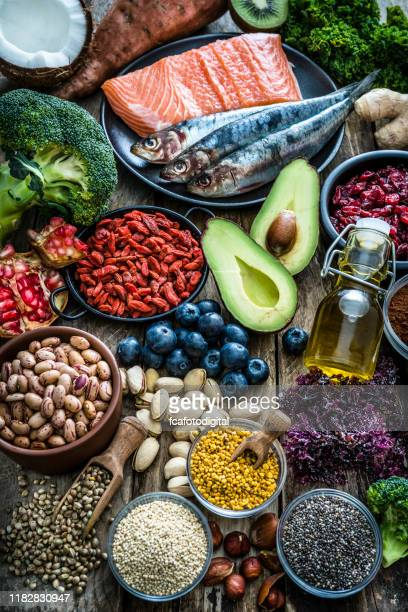 healthy eating: selection of antioxidant group of food - omega 3 stock pictures, royalty-free photos & images